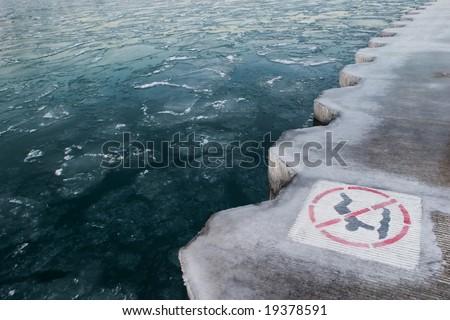 Winter in Chicago - Lake Michigan - stock photo