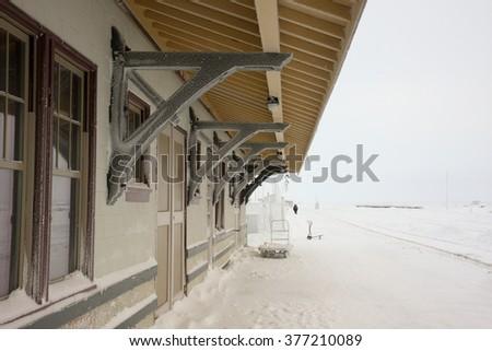 Winter in Churchill, Manitoba, Canada, at the railroad station. - stock photo