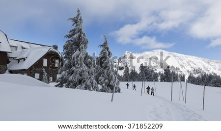 Winter in Crater Lake NP. Crater Lake NP, OR USA - January, 31 2016. Crater Lake NP is a popular tourism destination in all seasons. - stock photo
