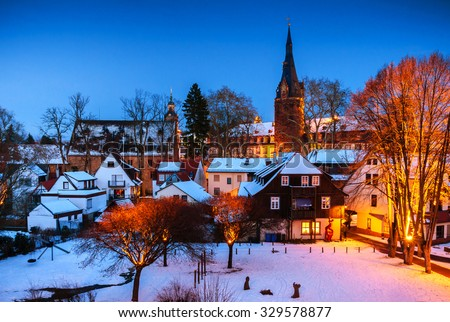 Winter Erbach Odenwald Hessen Germany Stock Photo - Hessen germany