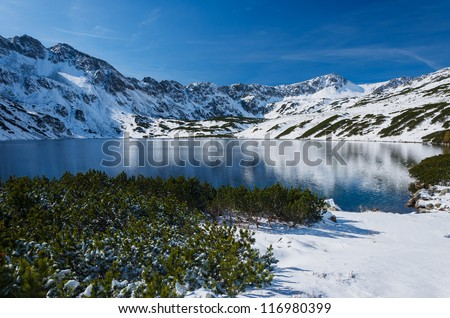 Winter in 5 lakes valley, High Tatra Mountains, Poland