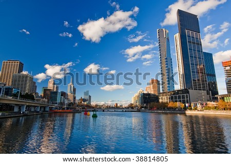 Winter in Melbourne, Skyscrapers on Yarra River - stock photo