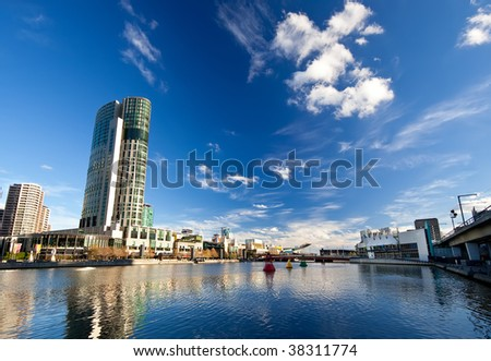 Winter in Melbourne, view on Yarra River - stock photo