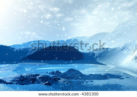 Winter in mountains. 3d picture