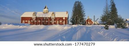 Winter in New England, Mountain View Farm, Lyndonville, Vermont - stock photo
