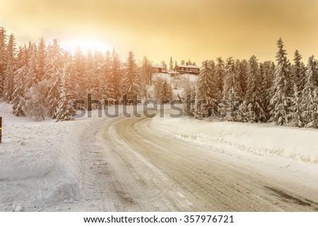 Winter in Norway - Lifjell Telemark - stock photo