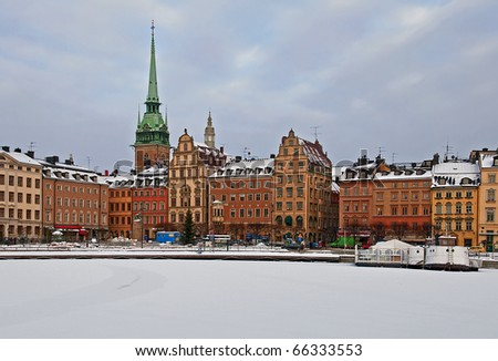 Winter in Old Town. - stock photo