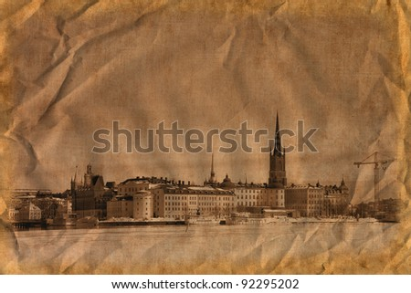 Winter in Stockholm Stockholm, Sweden. /Artistic work of my own in retro style/ - stock photo