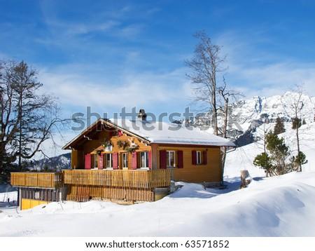 Winter in swiss alps (Amden, St. Gallen, Switzerland) - stock photo