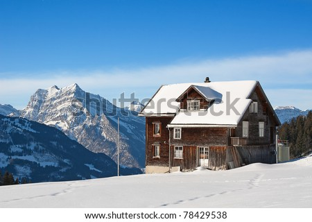 Winter in swiss alps (Amden, St. Gallen, Switzerland) - stock photo
