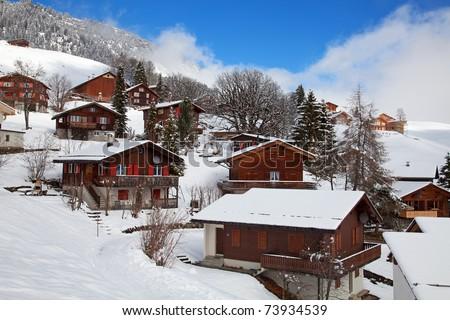 Winter in swiss alps (Braunwald, Glarus, Switzerland) - stock photo