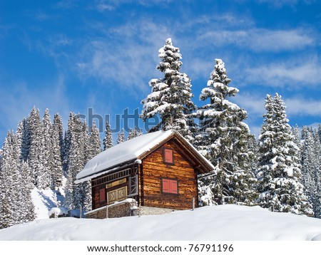 Winter in swiss alps (Braunwald, Glarus, Switzerland) - stock photo