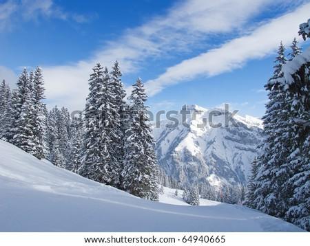 Winter in swiss alps (Elm, Glarus, Switzerland) - stock photo