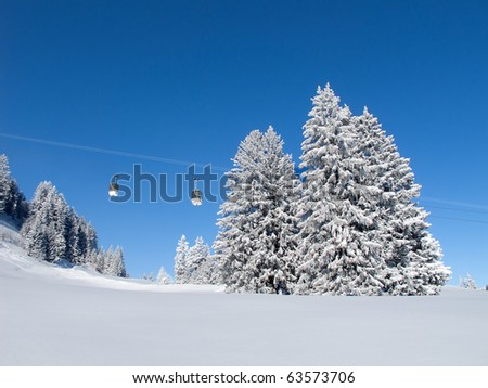 Winter in swiss alps (Flumserberg, St. Gallen, Switzerland) - stock photo
