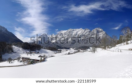 Winter in the Alps - snow panorama