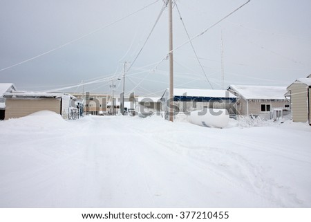 Winter in the arctic, with snow drifts, and sub zero temperatures. - stock photo