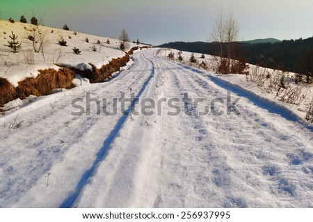 Winter in the country and the road through the snowy landscape - stock photo