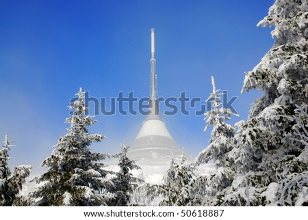 winter in the czech mountains - stock photo