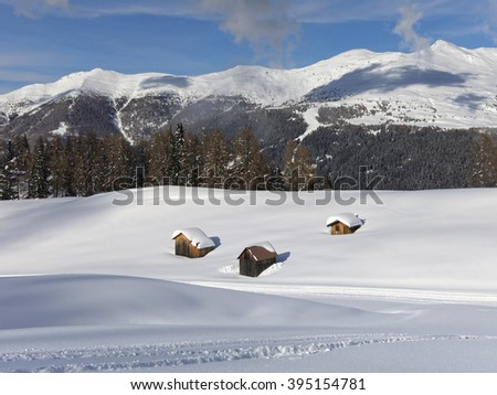 Winter in the Dolomite mountains of the Alps, South Tyrol, Italy