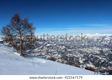 winter in the mountains:  a panoramic view  of the Alps,  Italy. - stock photo