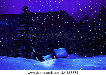 Winter in the mountains with little hut at christmas time - stock photo