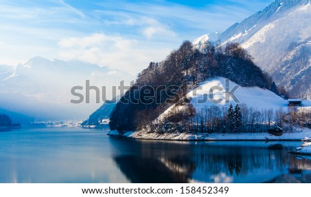 Winter in the swiss alps. - stock photo