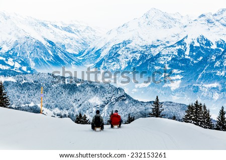 Winter in the swiss alps - stock photo