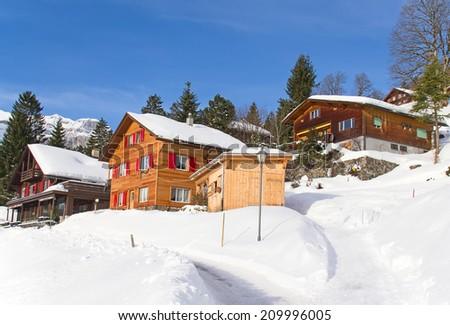 Winter in the swiss alps (Braunwald, Glarus, Switzerland) - stock photo