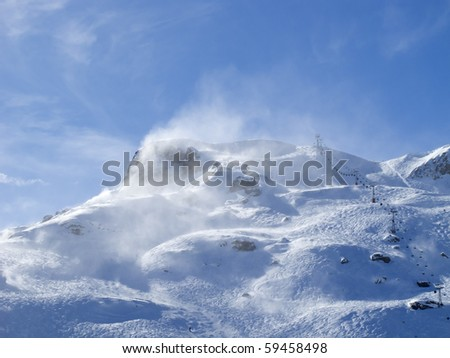 Winter in the swiss alps (Flumserberg, St.Gallen, Switzerland) - stock photo