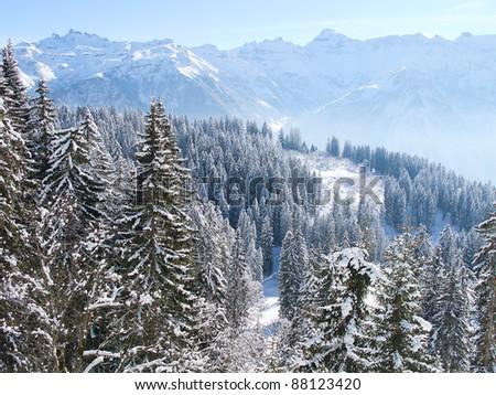 Winter in the swiss alps (Flumserberg, St.Gallen, Switzerland) - stock photo