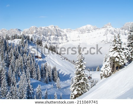 Winter in the swiss alps, Switzerland - stock photo