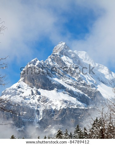 Winter in the swiss alps (Switzerland, March 2011) - stock photo