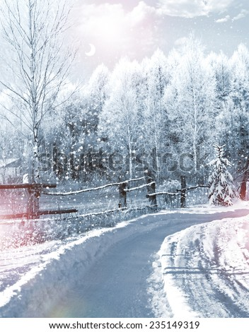 Winter in the village - stock photo