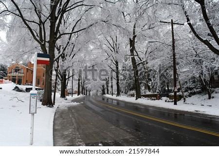 Winter in Washington DC, bus stop in Palisades - stock photo