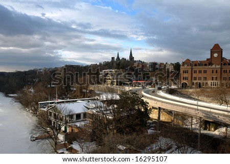 Winter in Washington DC, Georgetown University from Key bridge. - stock photo