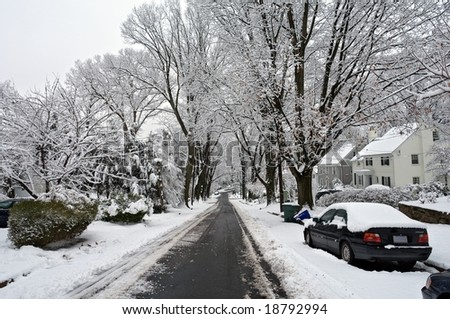 Winter in Washington DC: Palisades after a snowstorm. - stock photo