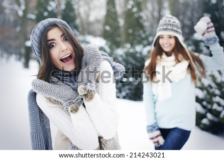 Winter is time for fun on outside  - stock photo