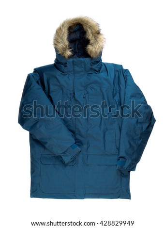 Winter jacket with fur on the hood. Isolate on white. - stock photo