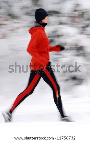 Winter jogging, intentional motion blur