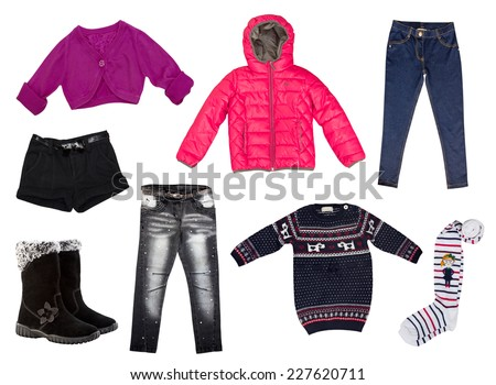 Winter kid's clothes.Isolated on white. Modern fashion clothing collage.