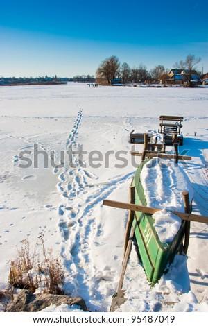 winter lake panorama - stock photo
