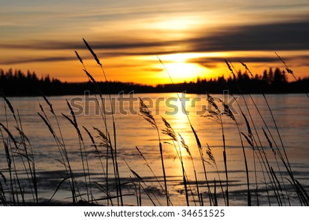 Winter lakeside sunset view in elk island national park, alberta, canada