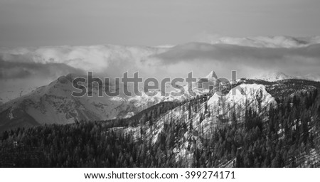Winter landscape and mountains