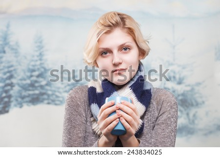 winter landscape and people. girl wearing a scarf in winter, portrait