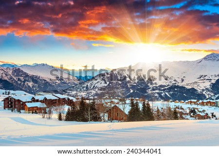 Winter landscape and ski resort in the Alps,La Toussuire,France,Europe