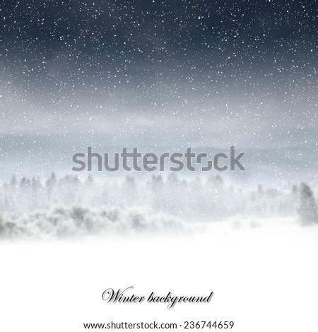 winter landscape and space for text  - stock photo