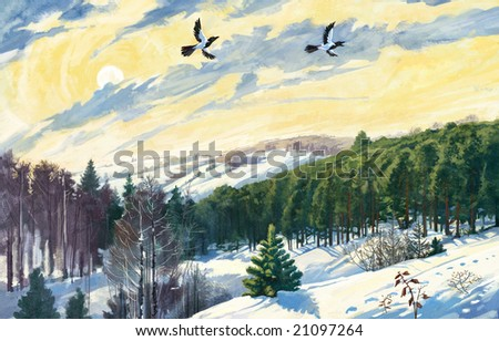 Winter landscape and two magpies - stock photo