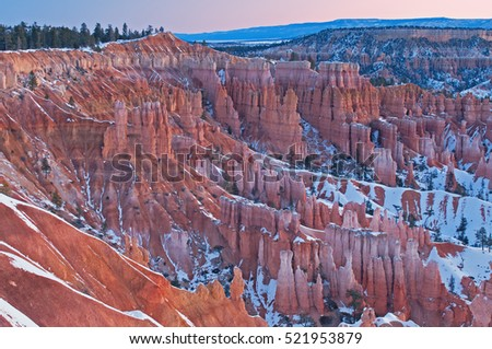 Winter landscape at dawn of the hoodoos of Bryce Canyon National Park, Utah, USA