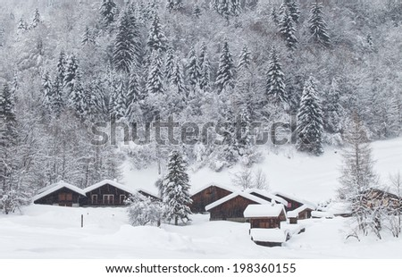 Winter landscape at the French Alps - stock photo