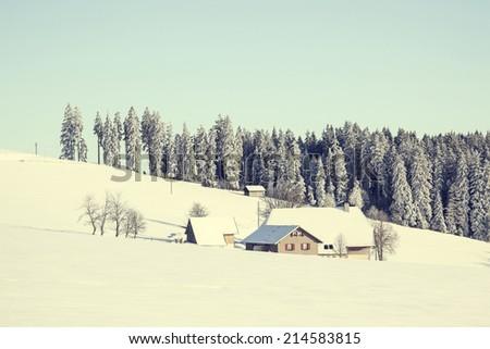 Winter landscape Black Forest Baden W\xBBrttemberg Germany - stock photo